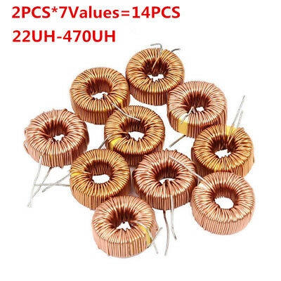 14pcs Toroid Inductor Winding Magnetic Inductors Assorted Kit 22uh-100uh-470uh