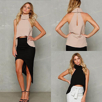 Women Away Sleeveless Cropped Soft Tops Ladies Fashion Summer High Neck Vest -