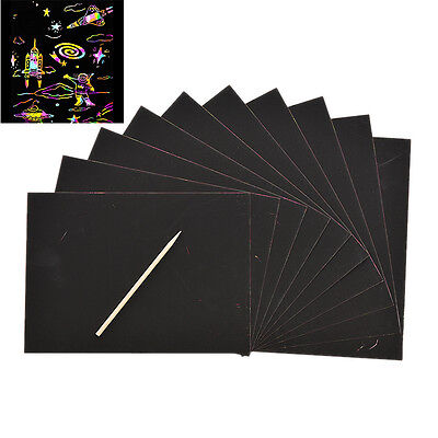 10 Sheet Magic Colorful Scratch Art Paper Cards Scraping Drawing With Stick JH