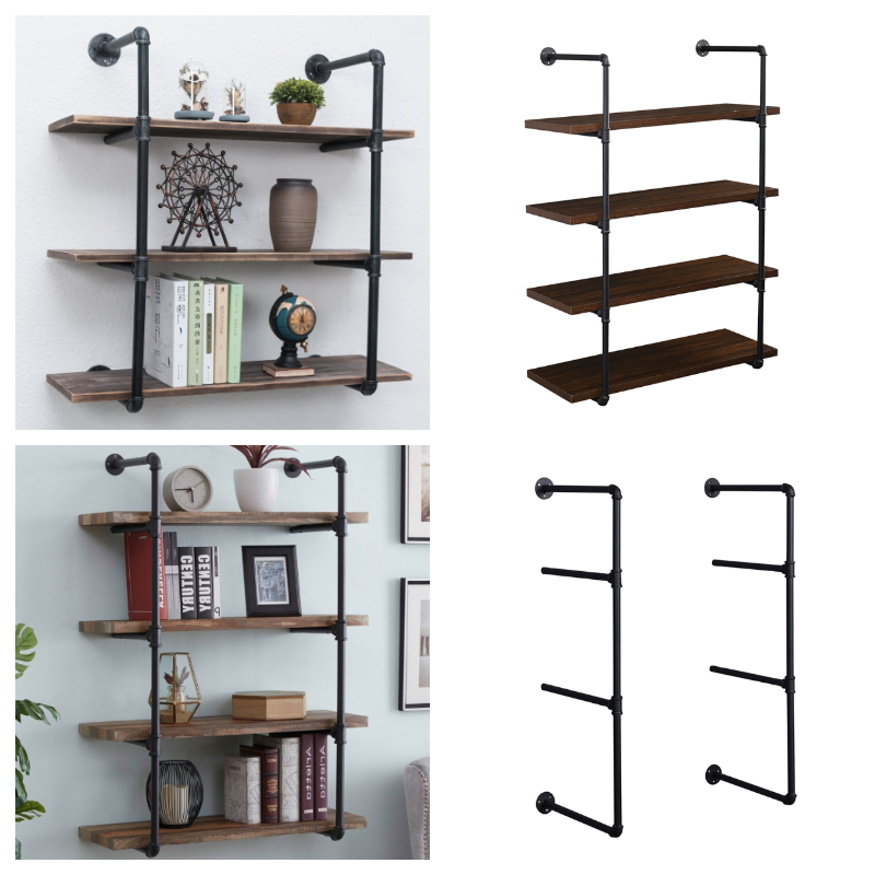 industrial iron pipe shelf wall mounted storage