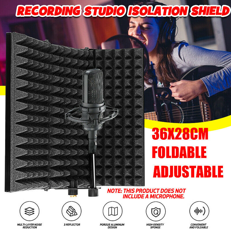 3 Folding Studio Microphone Isolation Shield Live Soundproof Recording Absorber