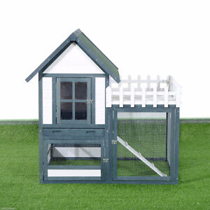 "52"" Wooden Rabbit Hutch Pet House Backyard Habitat Cage w/ Run"