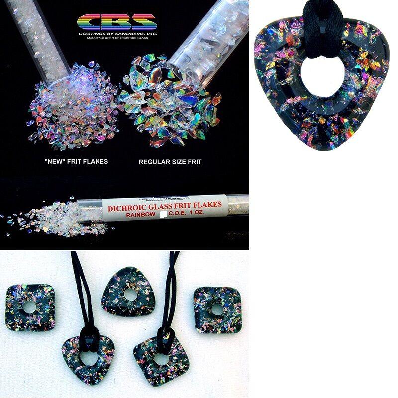 Fine Dichroic GLASS FRIT FLAKES 90 COE CBS Rainbow Clear Sandberg 90COE Fusing