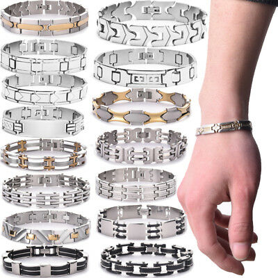 Wholesale Womens Mens Gold/Silver Stainless Steel Punk Cuff Bangle Bracelet Lots - Punk Wholesale