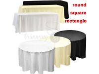 Tablecloth Table Cover Cloth Polyester Banquet Wedding Party White Black Ivory Napkins Various sizes