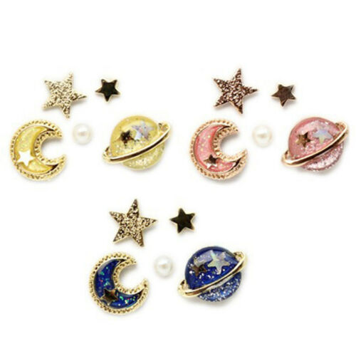 5PCS Moon Star Planet Stud Earrings Charm Ear Stud Women Jew