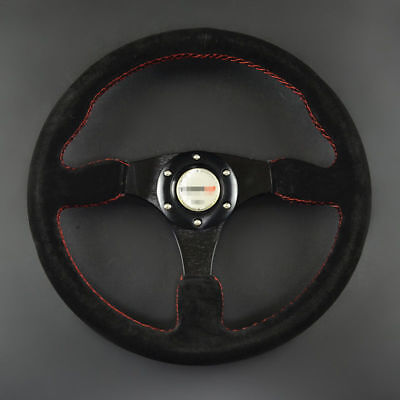 """13.7""""inch/350mm Black Leather Matte Sport Racing Steering Wheel Alloy with Horm"""