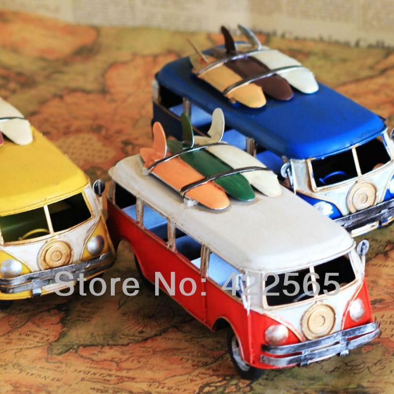 Handmade Vintage Style Bus Metal Classic Car Model Metal Art Gift Home Decoration