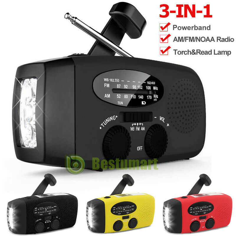 3 in 1 Emergency Solar Hand Crank AM/FM/NOAA/WB Radio LED Torch USB Charger SOS