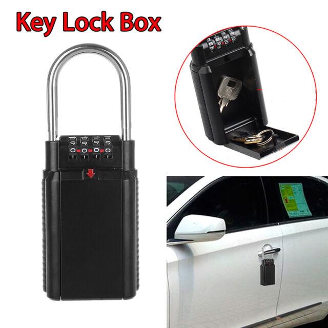 4 Digit Key Safe Vault Lock Box Travel for Realtor Outdoor Use Car-door Handle