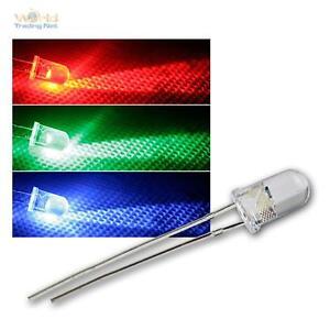 10 LEDs 5mm wasserklar RGB langsam blinkend, blinkende LED rot grün blau RGBs