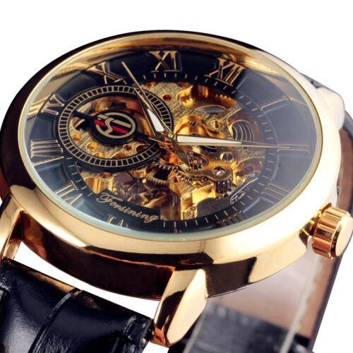 Luxury Mens Skeleton Mechanical Wrist Watch Steampunk Black Leather Analog Wind