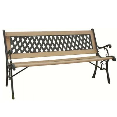 NEW 2 SEATER CAST IRON WOODEN OUTDOOR TRADITIONAL DESIGN GARDEN BENCH
