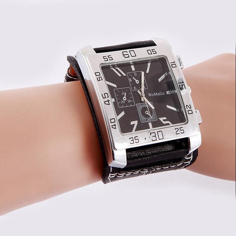 Wrist Watch for man boys guy Big Face Quartz Leather Band Bl