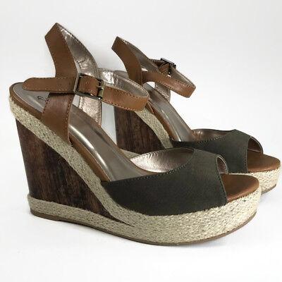 Qupid Hampton Women Platform Wedge Sandal Olive Green Faux Nubuck Wood Twine 9M for sale  Shipping to Nigeria
