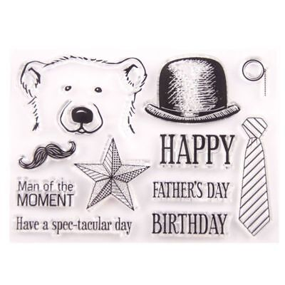 Happy Father's Day Bear Silicone Clear Seal Stamp DIY Scrapbooking Embossing - Father's Day Diy