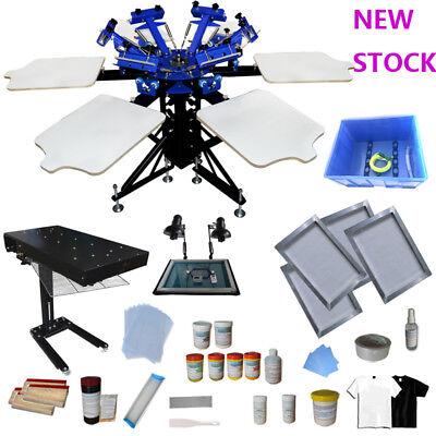 6 Color Screen Printing Press Materials Kit 1800w Flash Dryer Exposure Unit