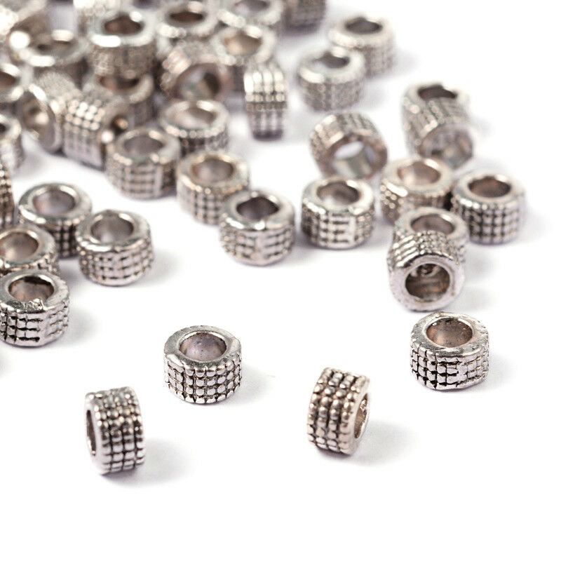 10pc Tibetan Alloy Column Metal Beads Bumpy Large Hole Loose Spacers Silver 17mm
