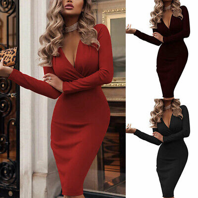 Women V Neck Long Sleeve Bodycon Sexy Dress Ladies Casual Evening Party Clubwear