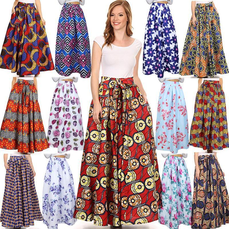 New African Ankara Skirt Dashiki Print High Waist Pleated Beach Boho Maxi Dress