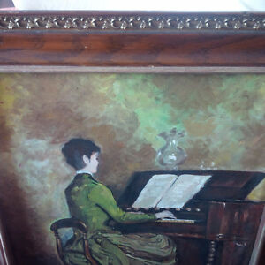 Vintage Painted Picture, Woman Playing Organ/Piano Kitchener / Waterloo Kitchener Area image 2