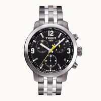Tissot PRC 200 Chronograph Black Dial Stainless Steel Mens Watch