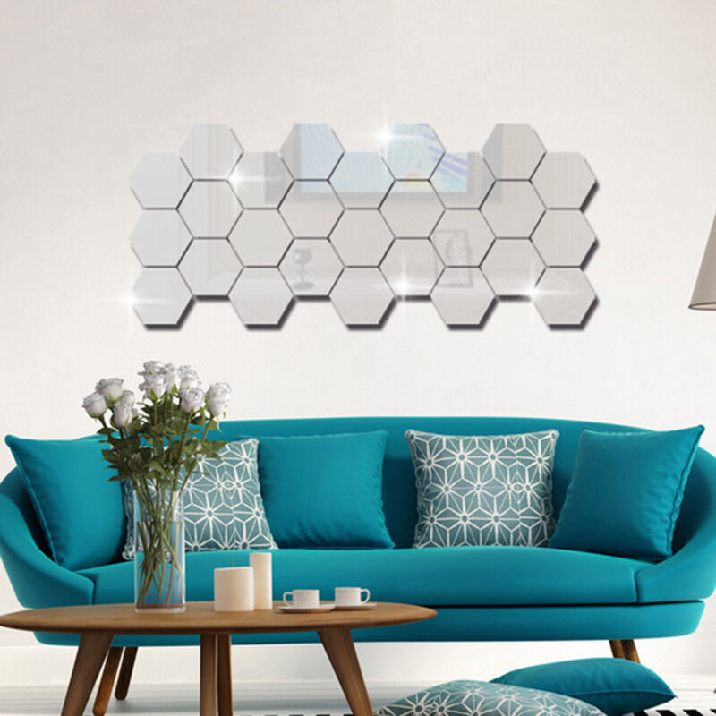 Modern Home DIY 12pcs 3D Mirror Geometric Hexagon Acrylic ...