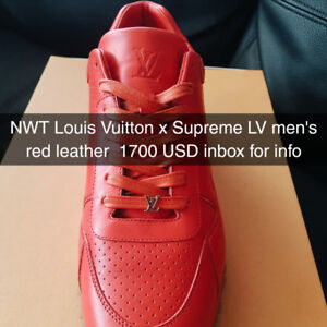 NWT Louis Vuitton x Supreme LV men's red leather  1700 USD