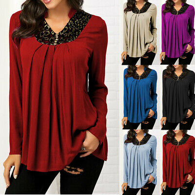 Womens Long Sleeve Lace T Shirt Tunic V Neck Tops Pleated Loose Shirt Blouse US Lace Shirt Blouse