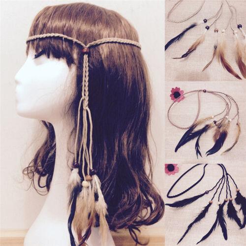 Hippie Indianer Feder Stirnband Handmade Weave Federn Haar Seil Kopfschmuck  UE