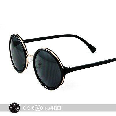 Round Circle Frame Sunglasses Black Gold Frame Classic High Fashion (Black Circle Frame Sunglasses)