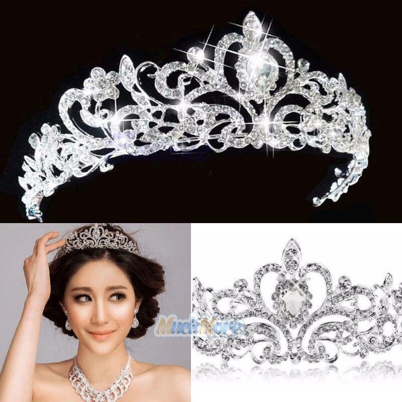 Princess Austrian Bridal Crystal Wedding Hair Tiara Crown Prom Veil Headband US