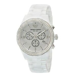 NEW GENUINE EMPORIO ARMANI AR1456 WHITE CERAMIC WOMEN'S WATCH UK