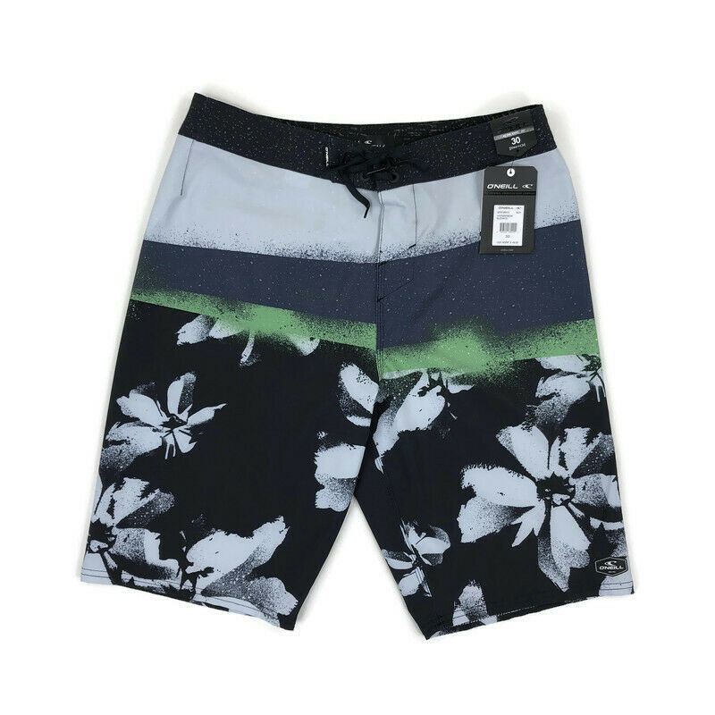 O'Neill Mens Hyperfreak Board Shorts Stretch Floral Green Bl