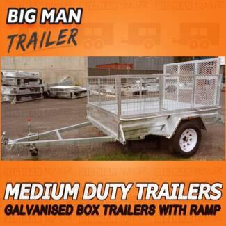 7x5 Ramp ✽ No Brake With Cage Medium Duty Galvanized Trailers