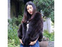DAYMISFURRY--Luxury Mink Fur Cape With Fox Fur Trim In Mahogany
