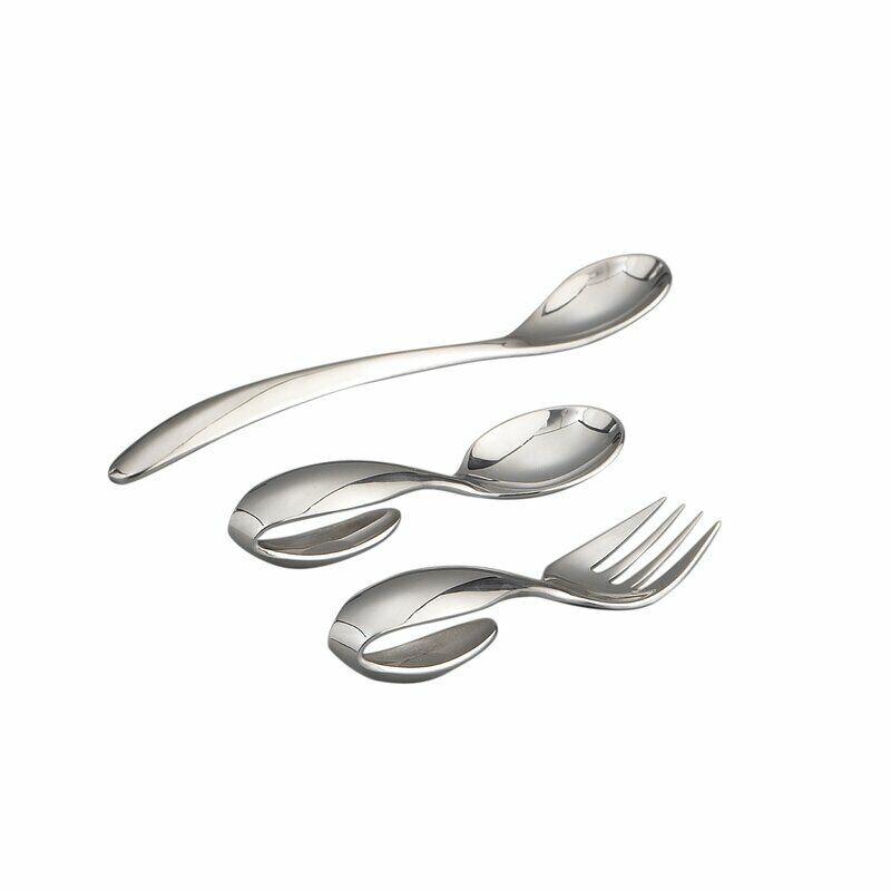 Nambe Baby 3-Piece Feeding Set – Stainless Steel Flatware - Silver