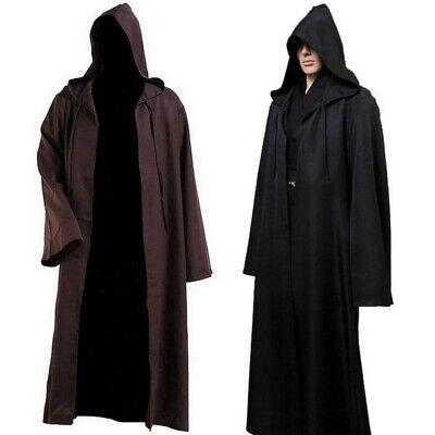 Black Hooded Cape Costume (Adult Hooded Cloak Cape Coat Long Vampire Halloween Fancy Cosplay Costume)