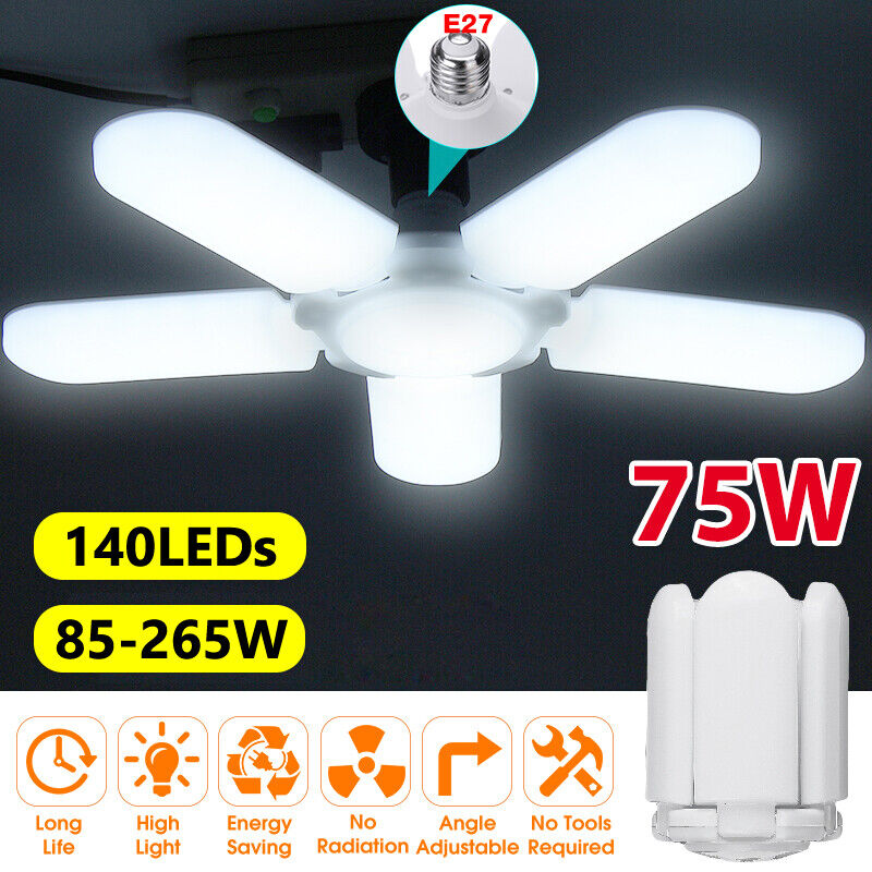 4800LM E27 LED Garage Light Bulb Deformable Ceiling Fixture Lights Workshop Lamp Chandeliers & Ceiling Fixtures