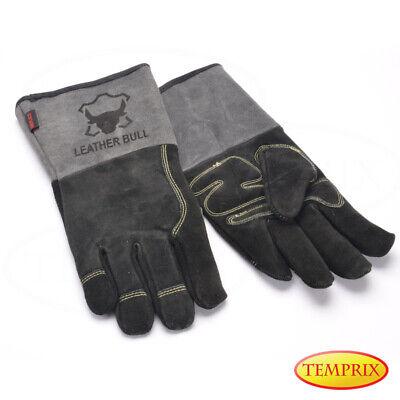 Temprix Kamin, Ofen & Grill Handschuhe | Echtleder | BBQ & Backofen | Grau XL