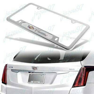 NEW 1PCS For CADILLAC Silver Metal Stainless Steel License Plate Frame