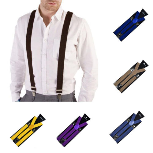Fashion Unisex Candy Color Elastic Suspenders Polyester Adult Adjustable Braces