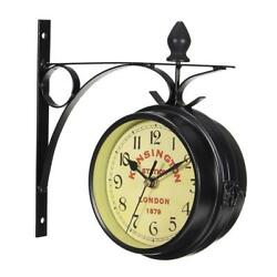 Wall Clock Vintage Decorative Double Sided Metal Antique Style Station Wall