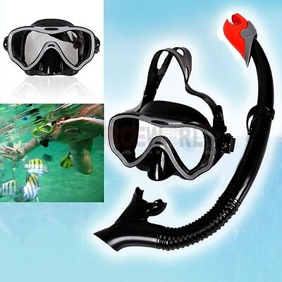 BLACK SCUBA DIVING SWIMMING MASK GOGGLES TEMPERED GLASS DRY SNORKEL SNORKELING