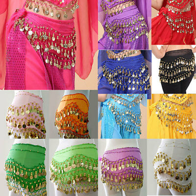 Women Belly Dance Costumes Hip Scarf Wrap Belt Skirt Gold/Silver Coins Beads  - Belly Dance Costume