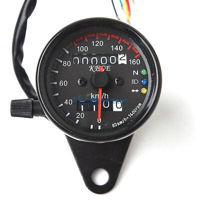 Universal Motorcycle Dual Odometer Speedometer Gauge LED Backlight Signal NEO