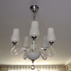 5-Light Chrome, Milk-Glass & Crystal Chandelier