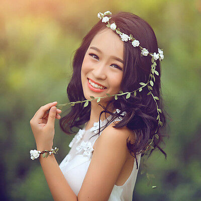 New Women Headband Flower Crown Festival Halo Bridal Headdress Garland Headpiece (Flower Halo Headband)