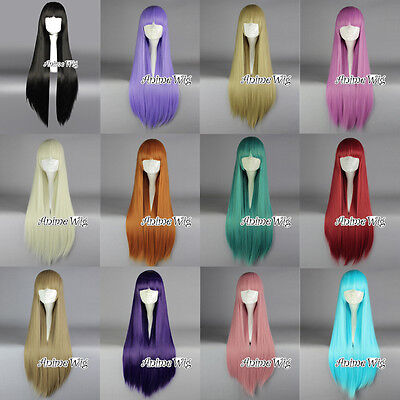 Girl Long Straight Neat Bang Style Halloween Party 100cm Anime Cosplay Wig Gifts](Girls Halloween Wigs)