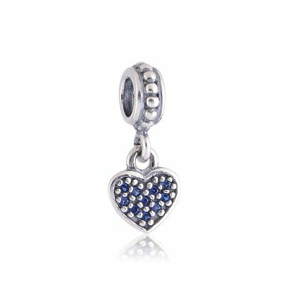 Authentic Pandora Heart Blue CZ Dangle Sterling Silver Bead Charm (Retired)